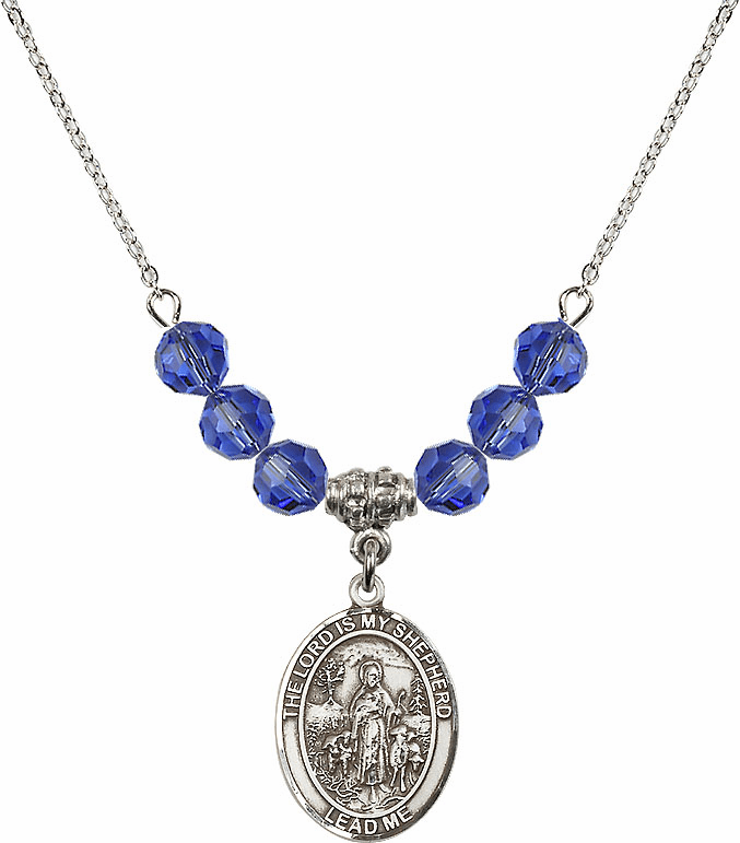 The Lord is My Shepherd Sterling September Sapphire Swarovski Crystal Beaded Necklace by Bliss Mfg