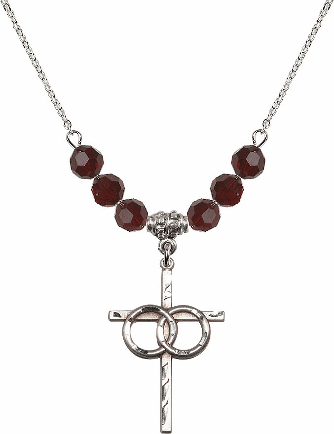 Sterling Silver Two Ring Wedding Cross Sterling 6mm January Garnet Swarovski Crystal Necklace by Bliss Mfg