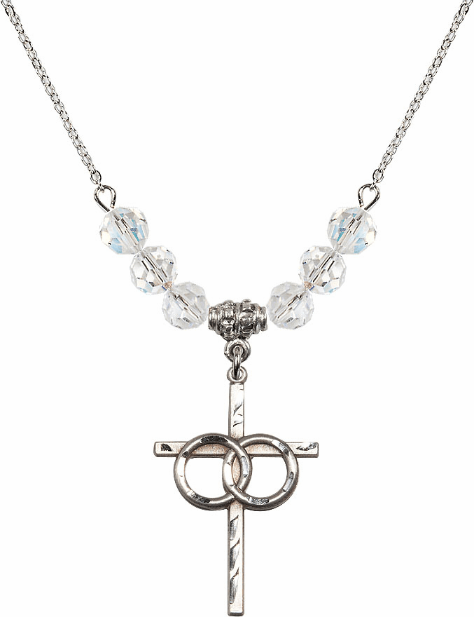 Sterling Silver Two Ring Wedding Cross Sterling April 6mm Swarovski Crystal Necklace by Bliss Mfg