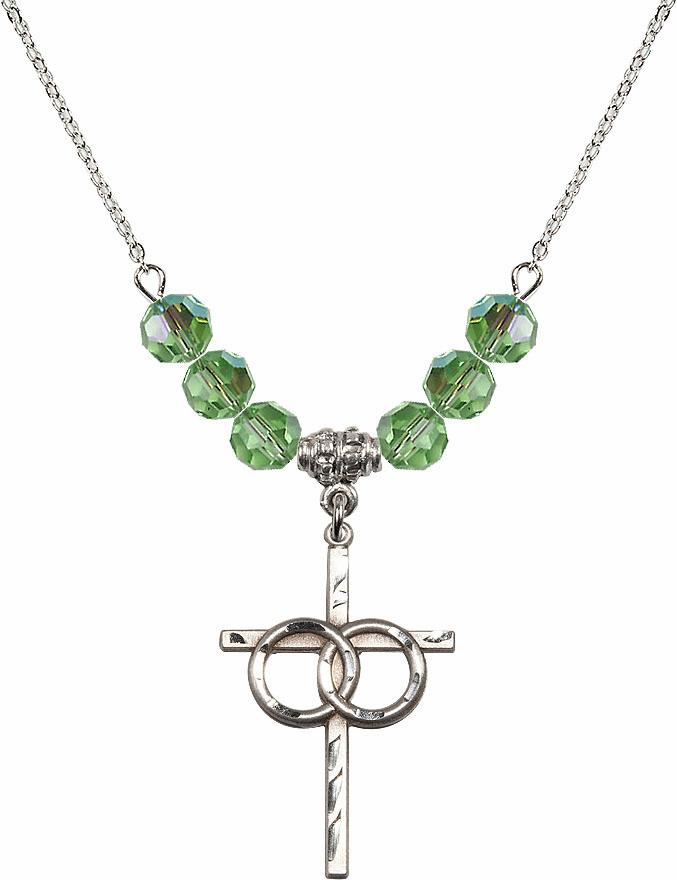 Sterling Silver Two Ring Wedding Cross Sterling August Peridot 6mm Swarovski Crystal Necklace by Bliss Mfg