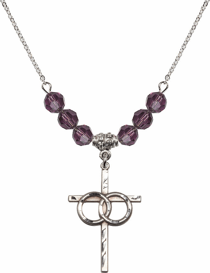 Sterling Silver Two Ring Wedding Cross Sterling February Amethyst 6mm Swarovski Crystal Necklace by Bliss Mfg