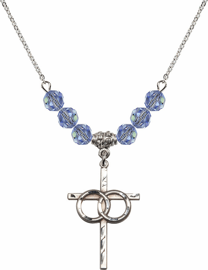 Sterling Silver Two Ring Wedding Cross Sterling Lt Sapphire 6mm Swarovski Crystal Necklace by Bliss Mfg