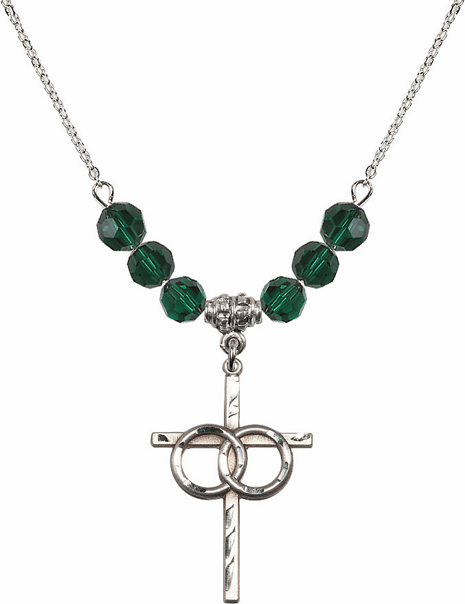 Sterling Silver Two Ring Wedding Cross Sterling May Emerald 6mm Swarovski Crystal Necklace by Bliss Mfg