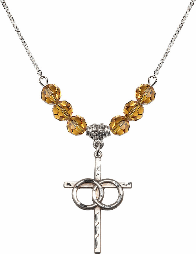 Sterling Silver Two Ring Wedding Cross Sterling November Topaz 6mm Swarovski Crystal Necklace by Bliss Mfg