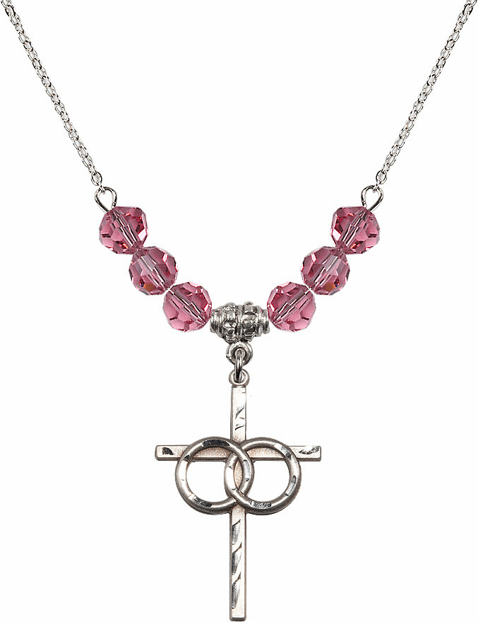 Sterling Silver Two Ring Wedding Cross Sterling October Rose 6mm Swarovski Crystal Necklace by Bliss Mfg