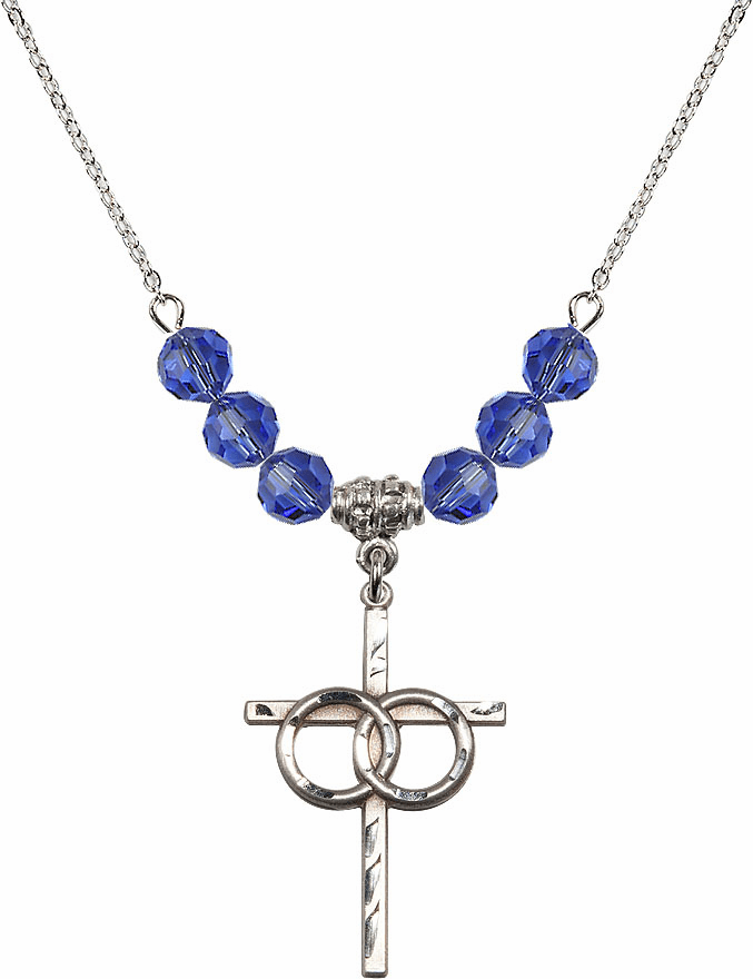 Sterling Silver Two Ring Wedding Cross Sterling September Sapphire 6mm Swarovski Crystal Necklace by Bliss Mfg