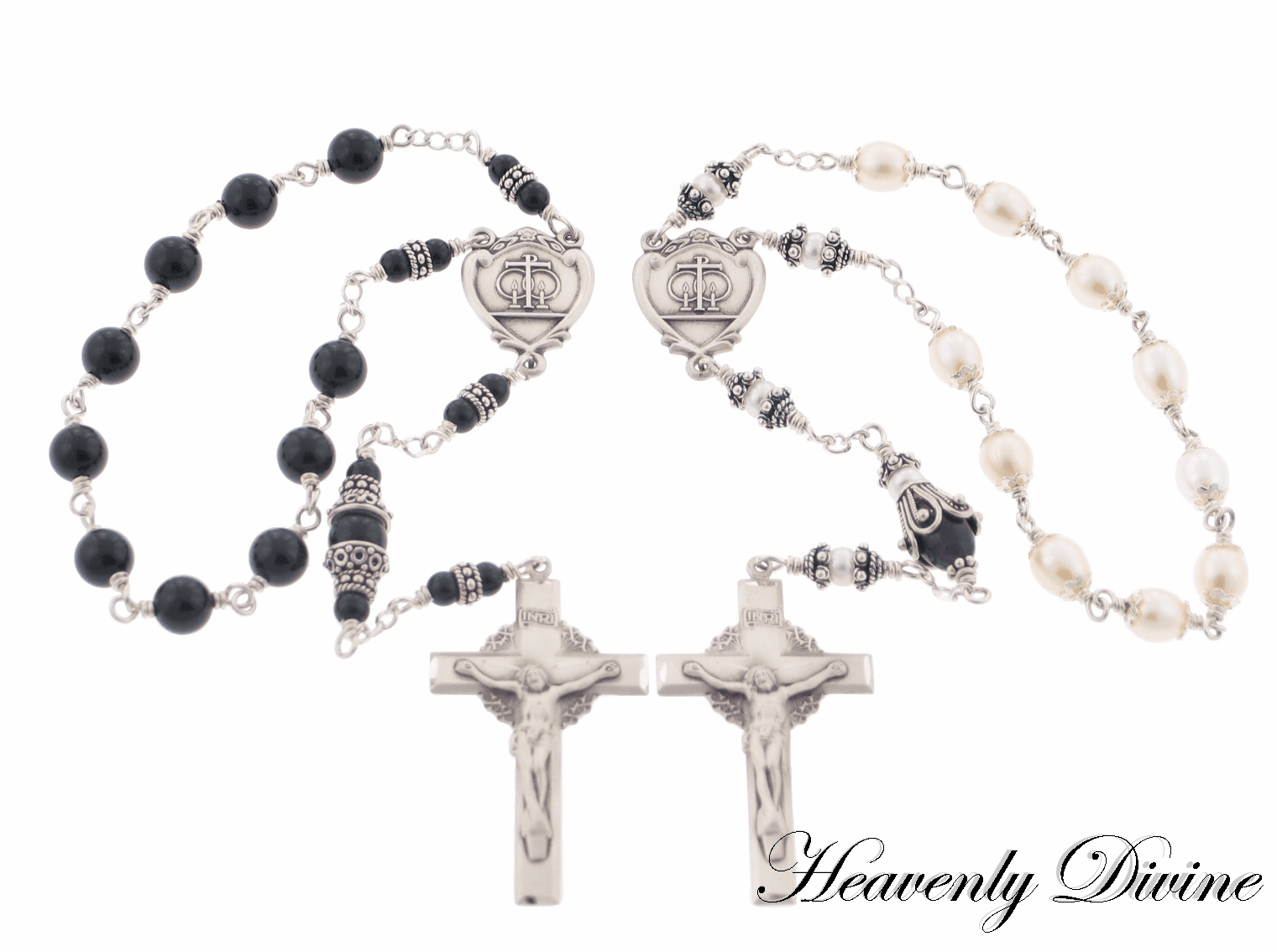 Sterling Silver Wedding or Anniversary One Decade Rosary Set by Heavenly Divine