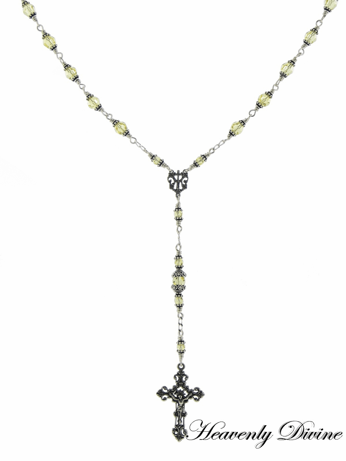 Sterling Silver Yellow Jonquil Swarovski Rosary Necklace by Heavenly Divine