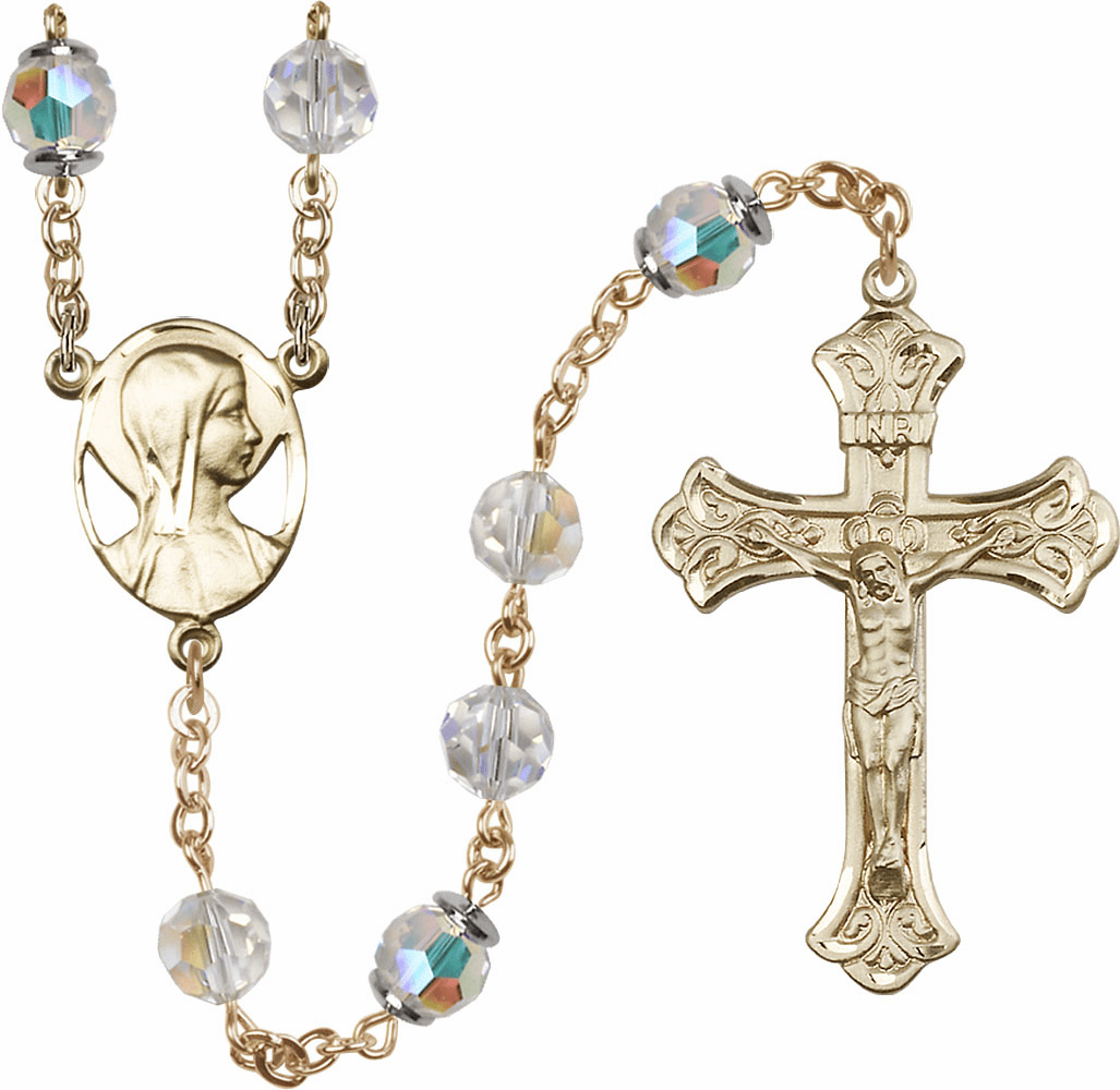 Swarovski 8mm Aurora Borealis Crystal Catholic 14kt Gold Rosary by Bliss