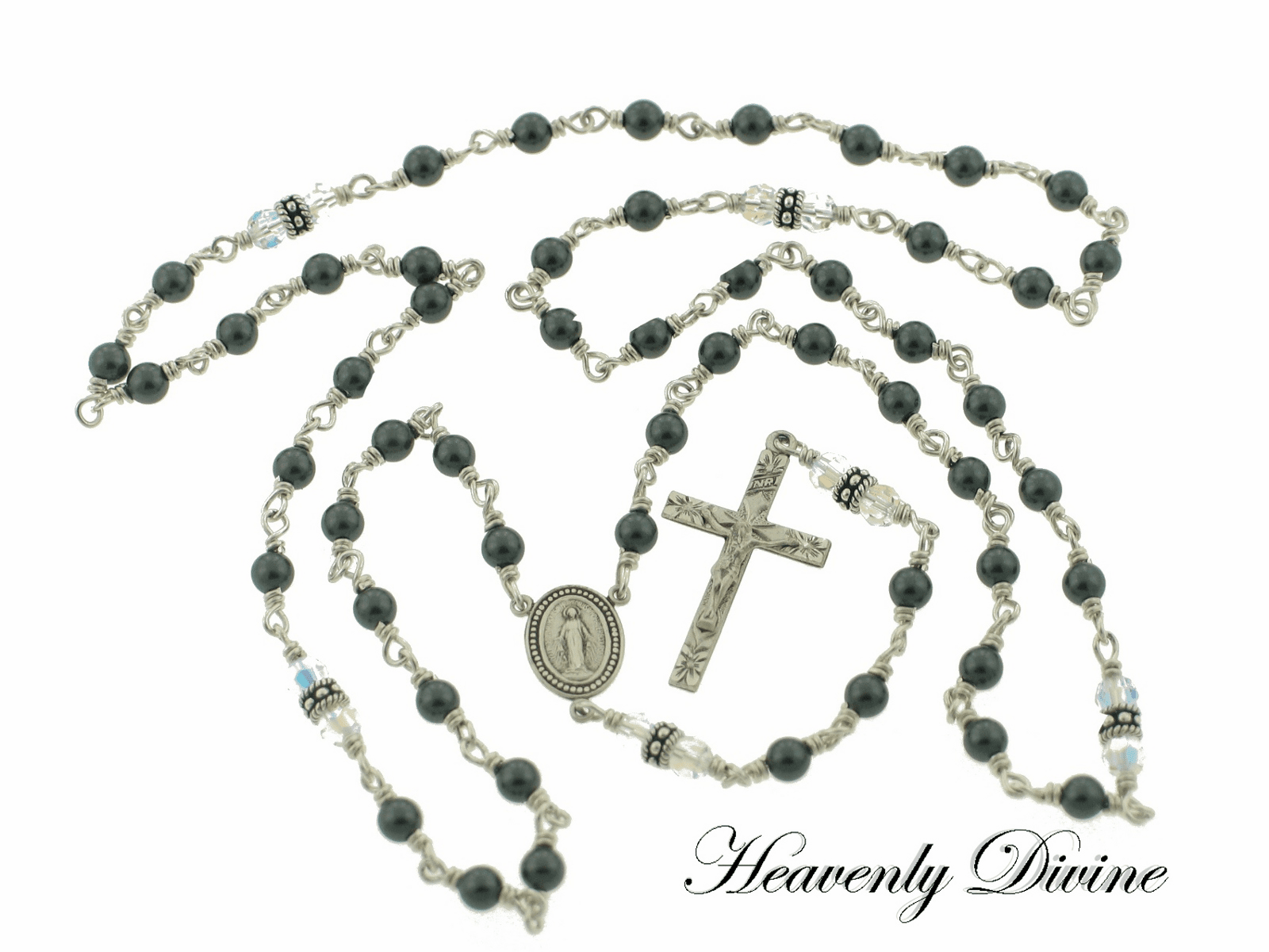 Swarovski Black Pearl Sterling Silver Wire Wrapped Rosary Necklace by Heavenly Divine