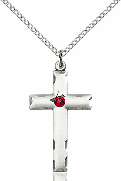 Swarovski Crystal July Ruby Birthstone Cross by Bliss