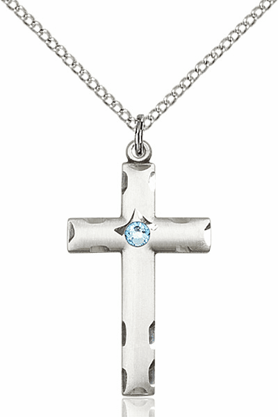 Swarovski Crystal March Aqua Birthstone Cross by Bliss