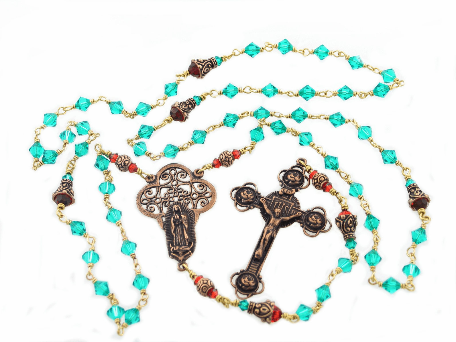Swarovski Crystal Our Lady of Guadalupe Bronze Wire-Wrapped Rosary by Heavenly Divine