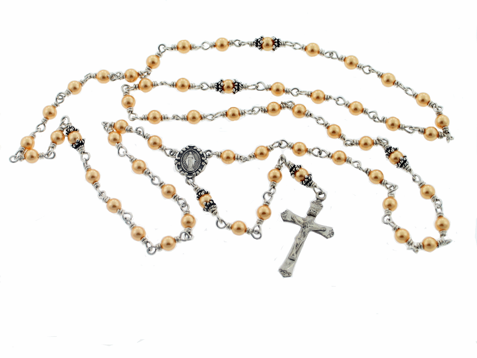 Swarovski Gold Pearl Sterling Silver Rosary Necklace by Heavenly Divine