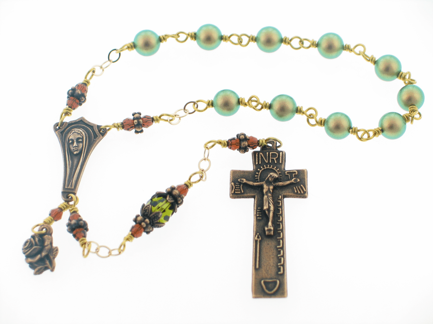 Swarovski Green Pearl and Brown Crystal Irish Penal One Decade Pocket Prayer Bead Rosary