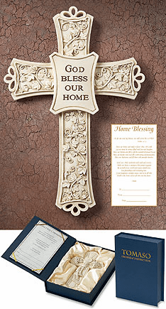 Tamaso God Bless Our Home Gift Boxed Chrisitan Blessing Wall Cross
