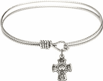 Textured 5-Way Cross Bangle Holy Spirit Charm Bracelet by Bliss