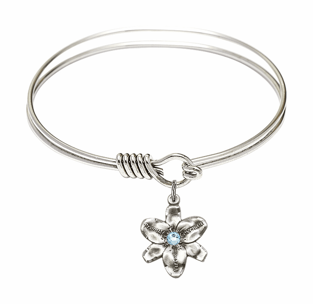 Textured Bangle Bracelet w/Aqua Flower Chastity Charm by Bliss Mfg