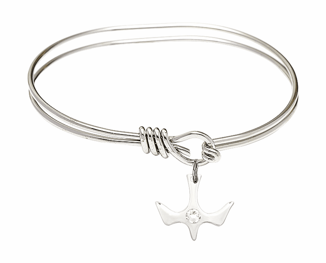 Textured Bangle Bracelet w/Crystal Holy Spirit Charm by Bliss Mfg