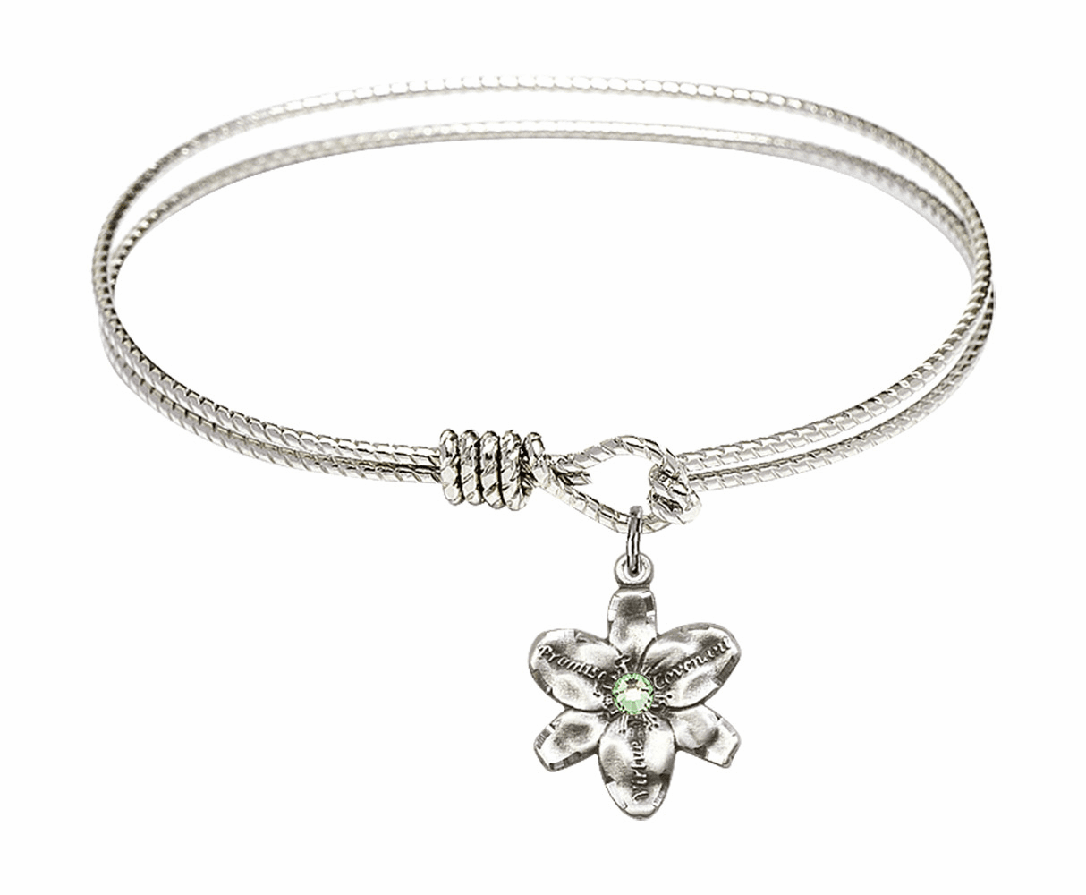 Textured Bangle Bracelet w/Peridot Flower Chastity Charm by Bliss Mfg