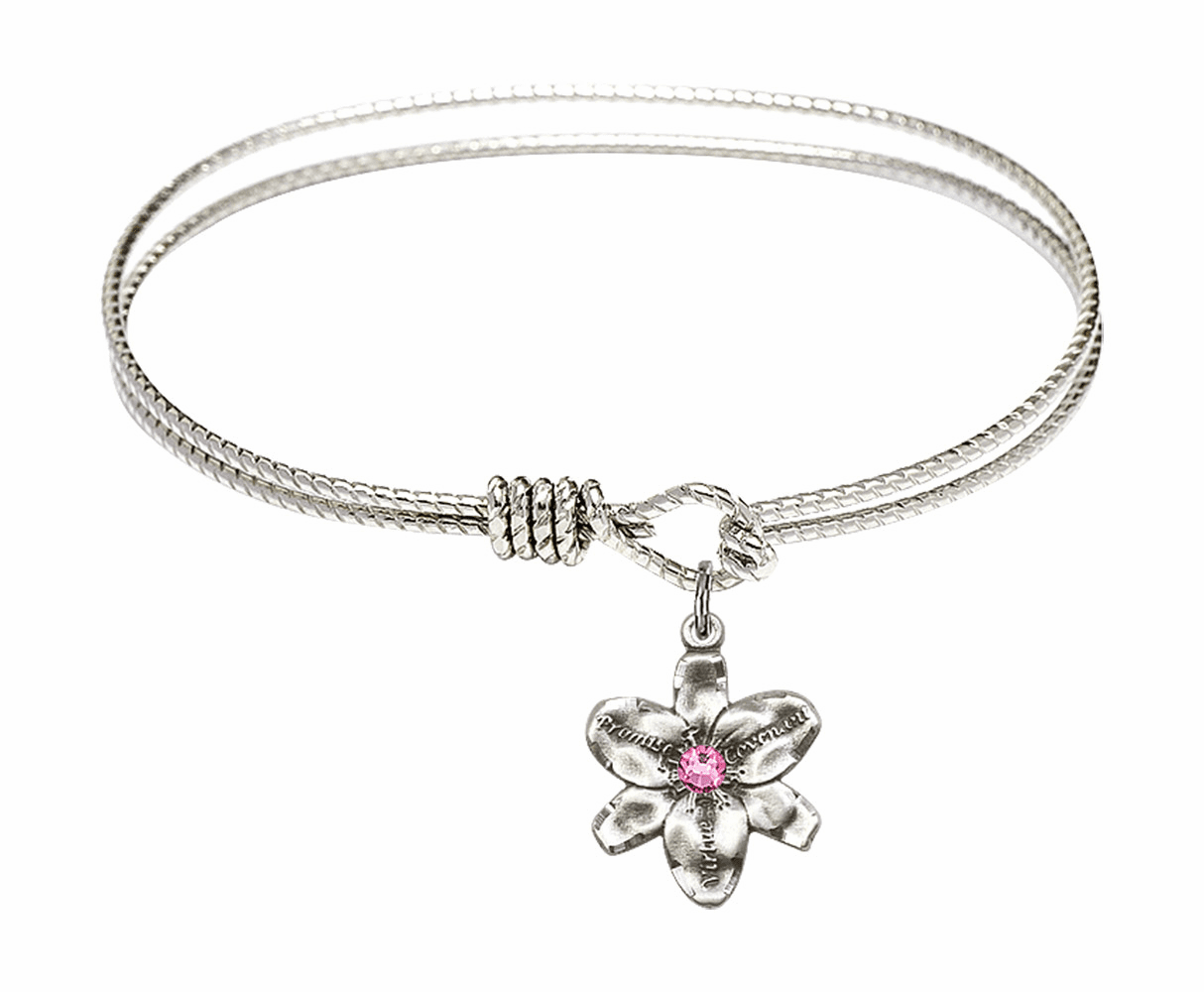 Textured Bangle Bracelet w/Rose Flower Chastity Charm by Bliss Mfg