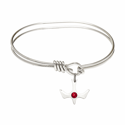 Textured Bangle Bracelet w/Ruby Holy Spirit Charm by Bliss Mfg