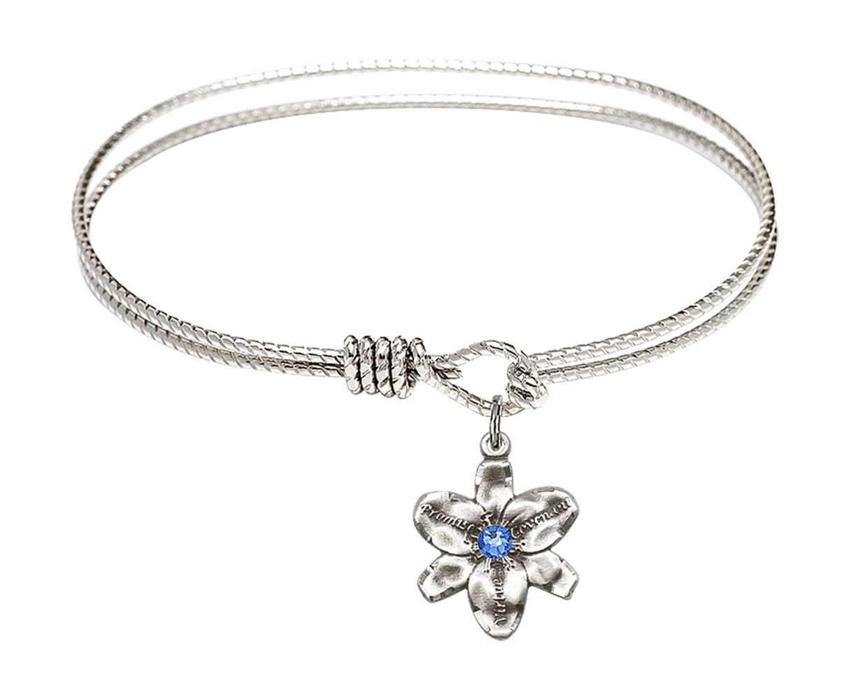 Textured Bangle Bracelet w/Sapphire Flower Chastity Charm by Bliss Mfg