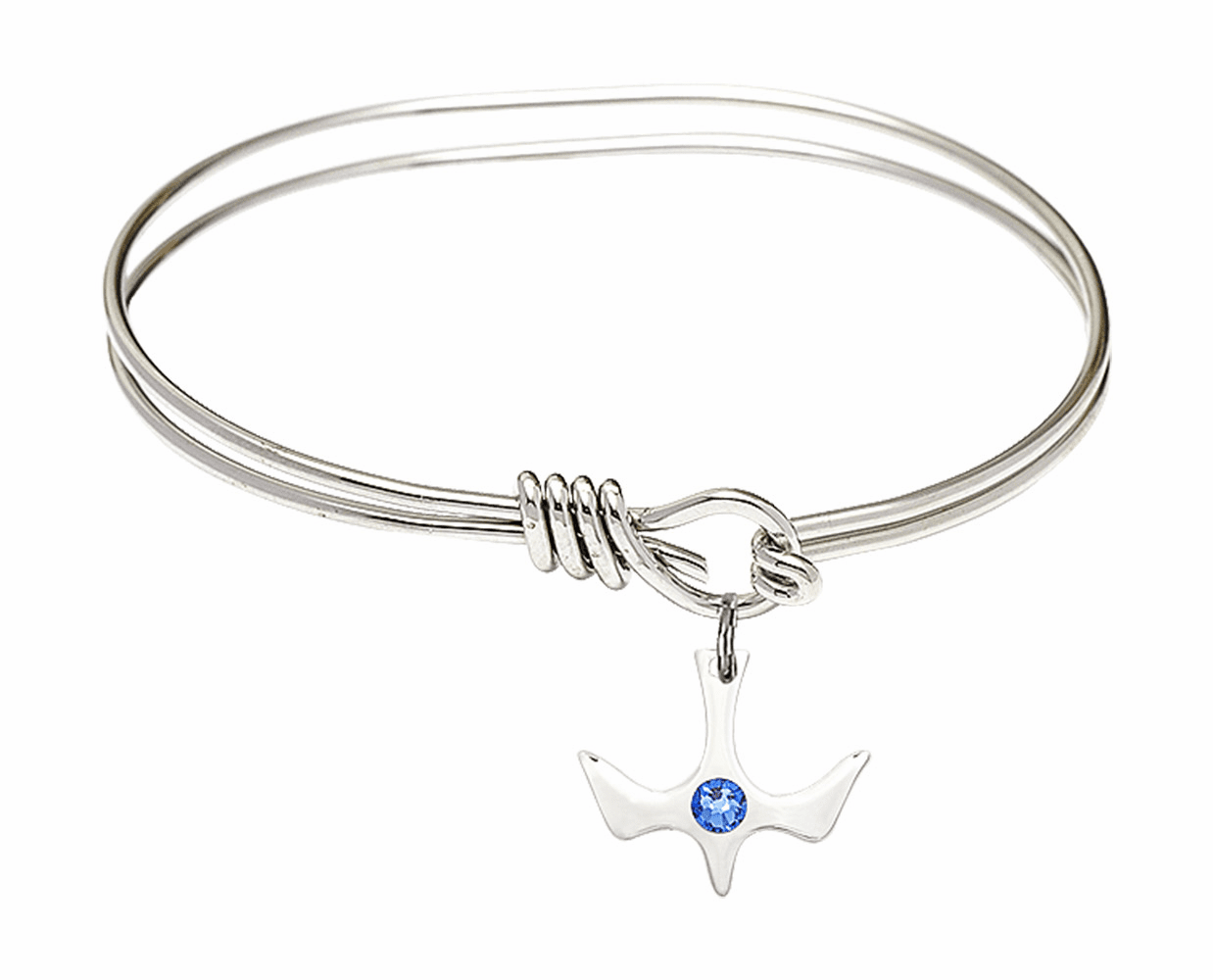 Textured Bangle Bracelet w/Sapphire Holy Spirit Charm by Bliss Mfg