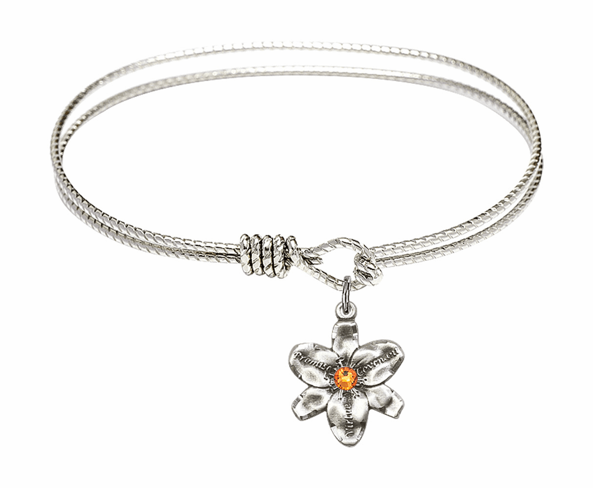 Textured Bangle Bracelet w/Topaz Flower Chastity Charm by Bliss Mfg