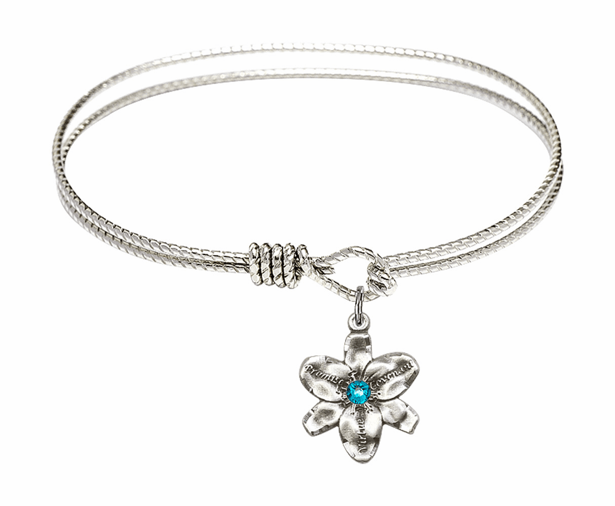 Textured Bangle Bracelet w/Zircon Flower Chastity Charm by Bliss Mfg