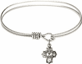 Textured First Holy Communion Bangle Charm Bracelet by Bliss