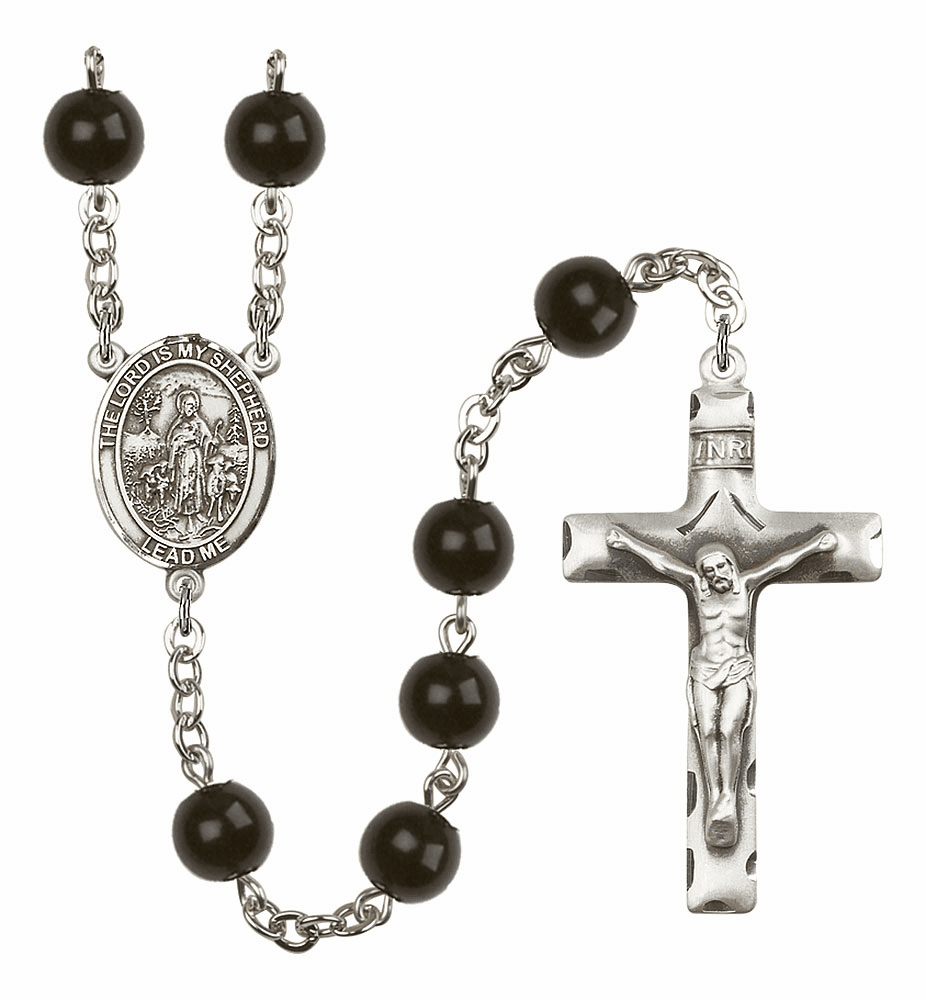 Bliss Mfg The Lord is My Shepherd 7mm Black Onyx Rosary