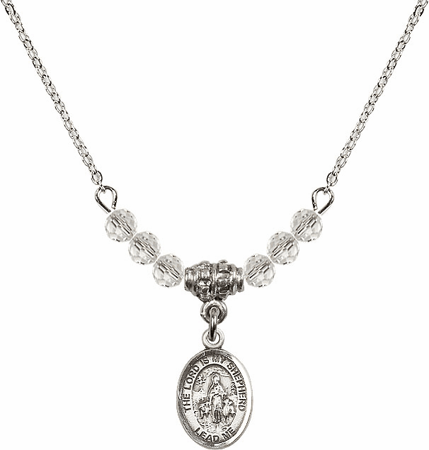 The Lord is My Shepherd April Swarovski Crystal Beaded Necklace by Bliss Mfg
