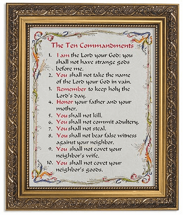 The Ten Commandments Framed Print Picture with Gold Frame by Gerffert