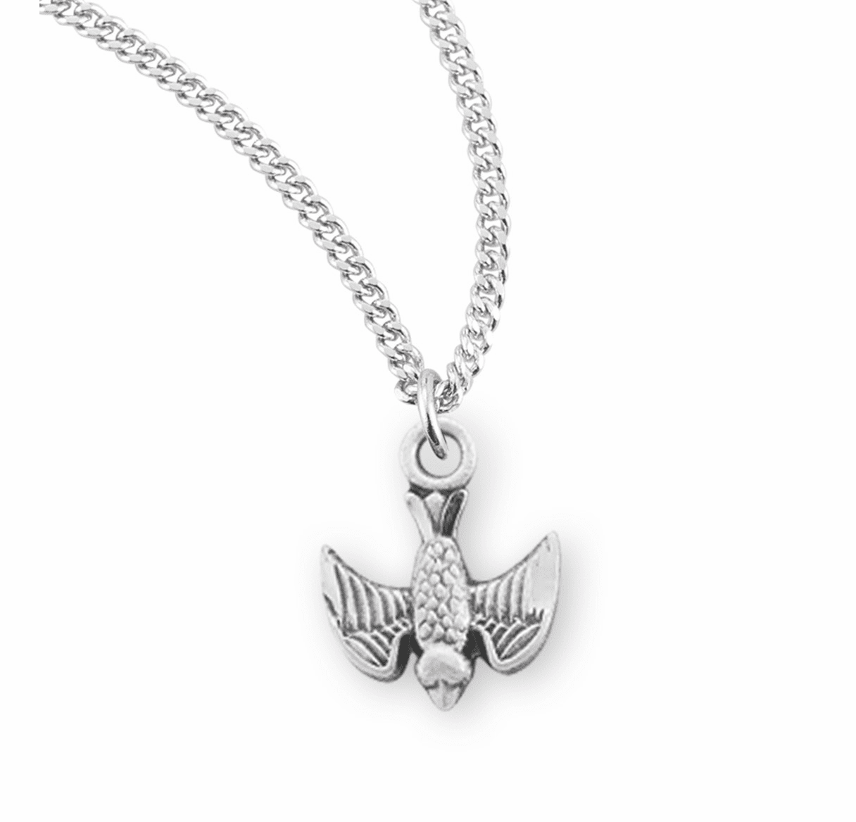 Tiny Sterling Silver Holy Spirit Medal Necklace by HMH Religious