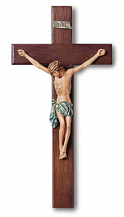 Tomaso 13 inch Traditional Wall Crucifix with Hand-Paint Wood Cross