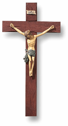 Tomaso Chiristian Wood and Resin Roma 10 inch Crucifix Wall Cross