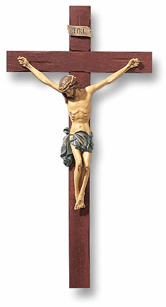 Tomaso Roma 13 inch Chiristian Wood and Resin Crucifix Wall Cross