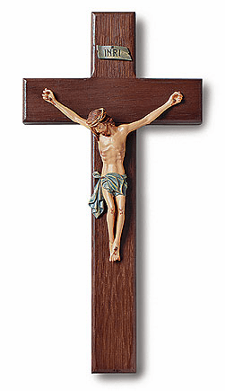 Tomaso Traditional Christian Wall Crucifx with Hand-Paint Wood Cross