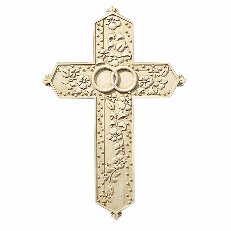 Tomaso Two Rings Wedding/Marriage Gift Boxed Christian Wall Cross