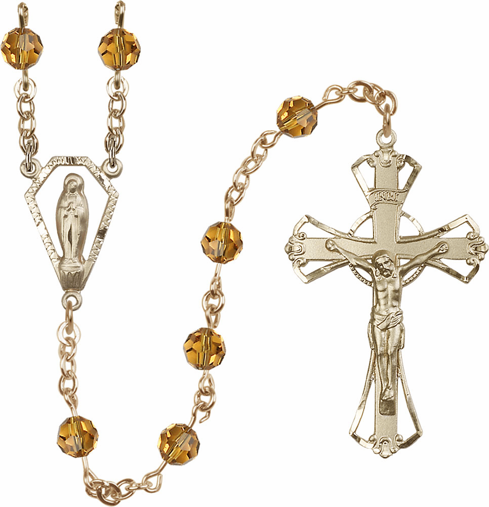 Topaz 6mm Swarovski Crystal Praying Madonna Gold-filled Rosary by Bliss