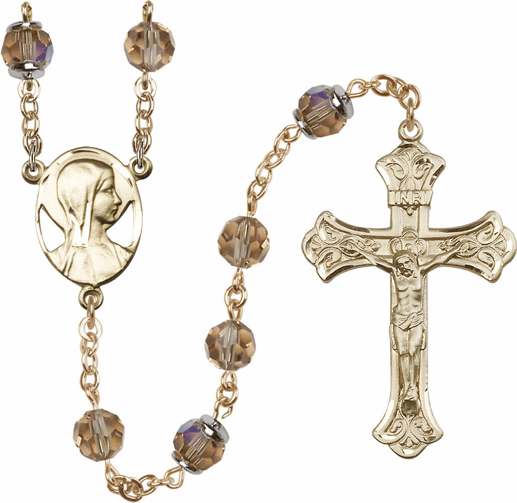 Topaz Swarovski 8mm Aurora Borealis Crystal 14kt Gold Rosary by Bliss