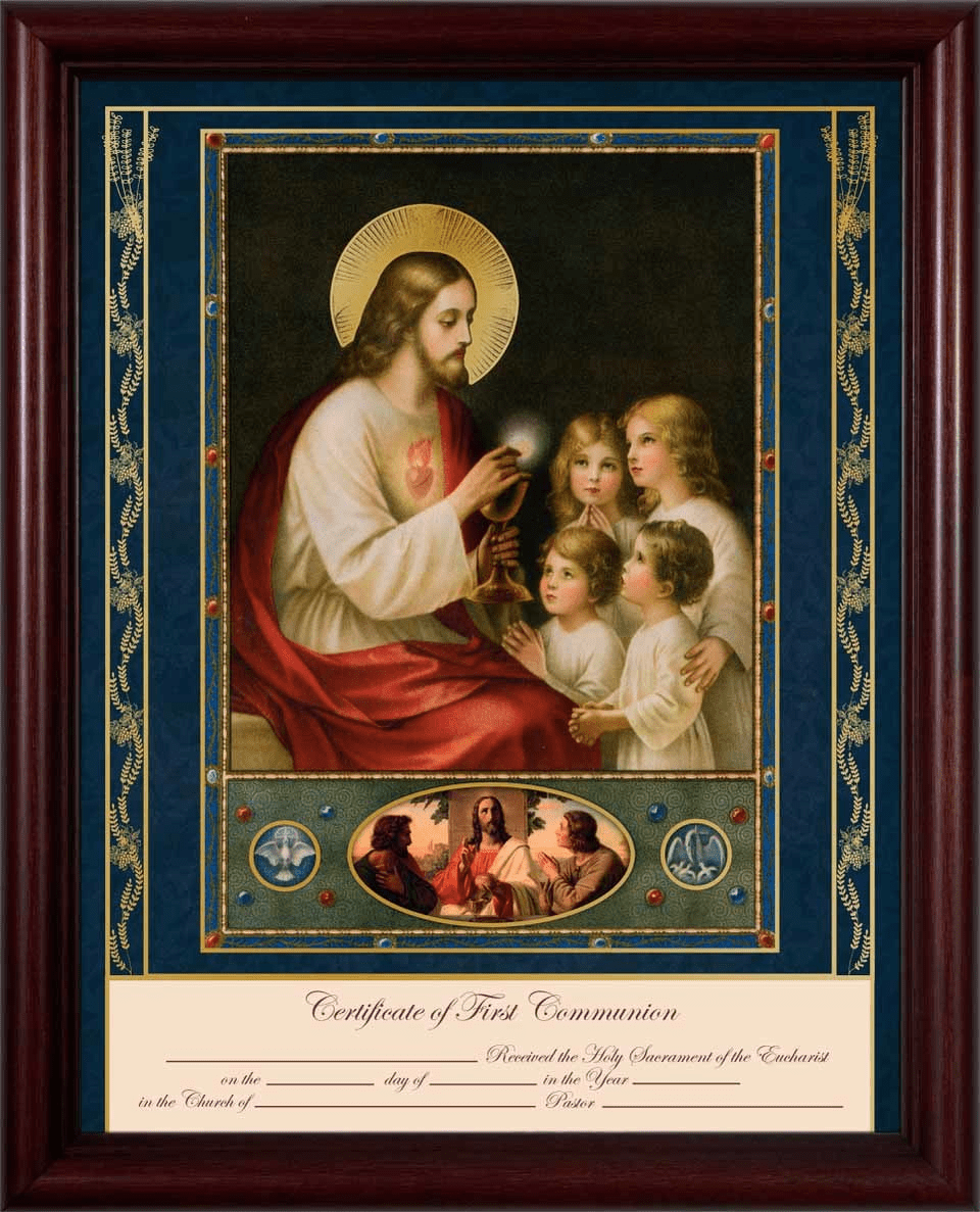 Traditional First Communion Certificate with Cherry in Gold Frame Wall Picture