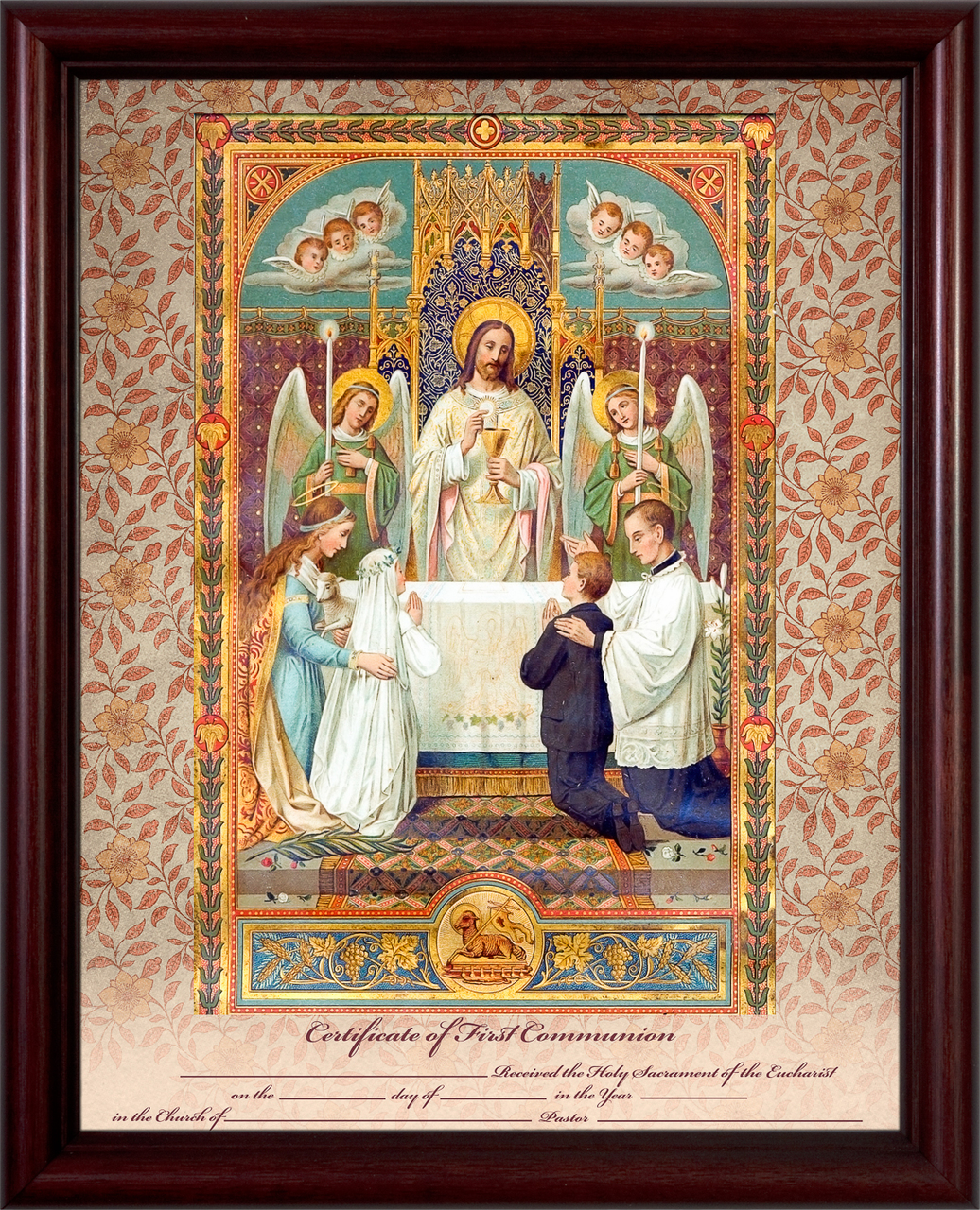 Traditional First Communion Sacrament Certificate w/Angels in Cherry Frame Wall Picture