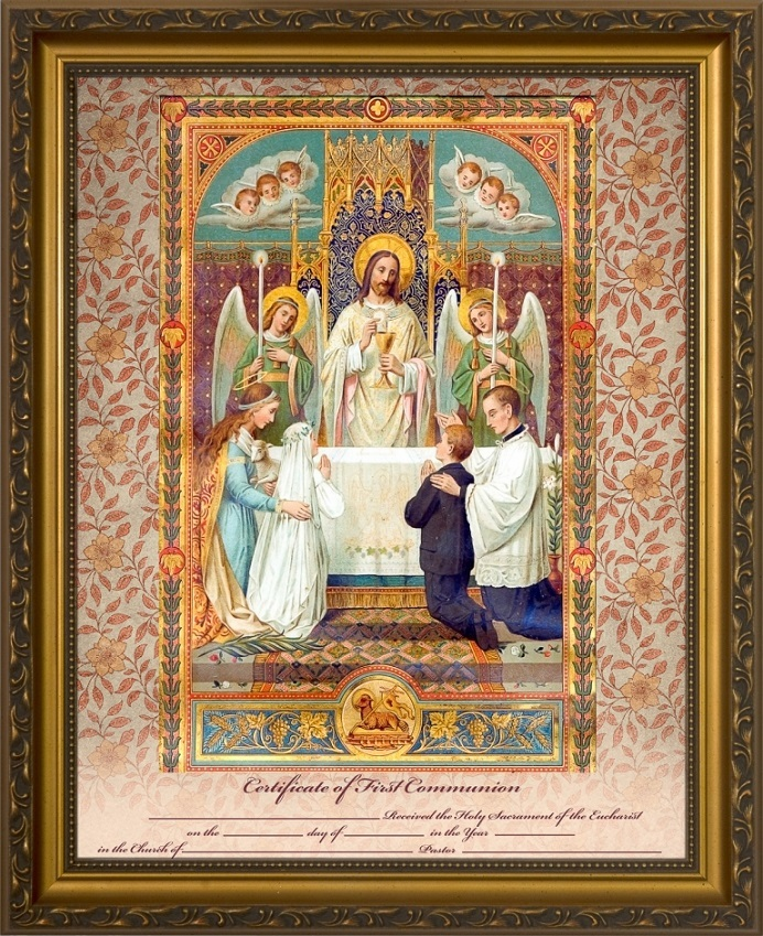 Traditional First Communion Sacrament Certificate w/Angels in Gold Frame Wall Picture