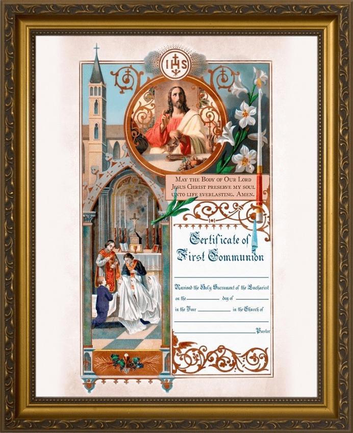 Traditional First Communion Sacrament Certificate with Priests Gold Frame Wall Picture