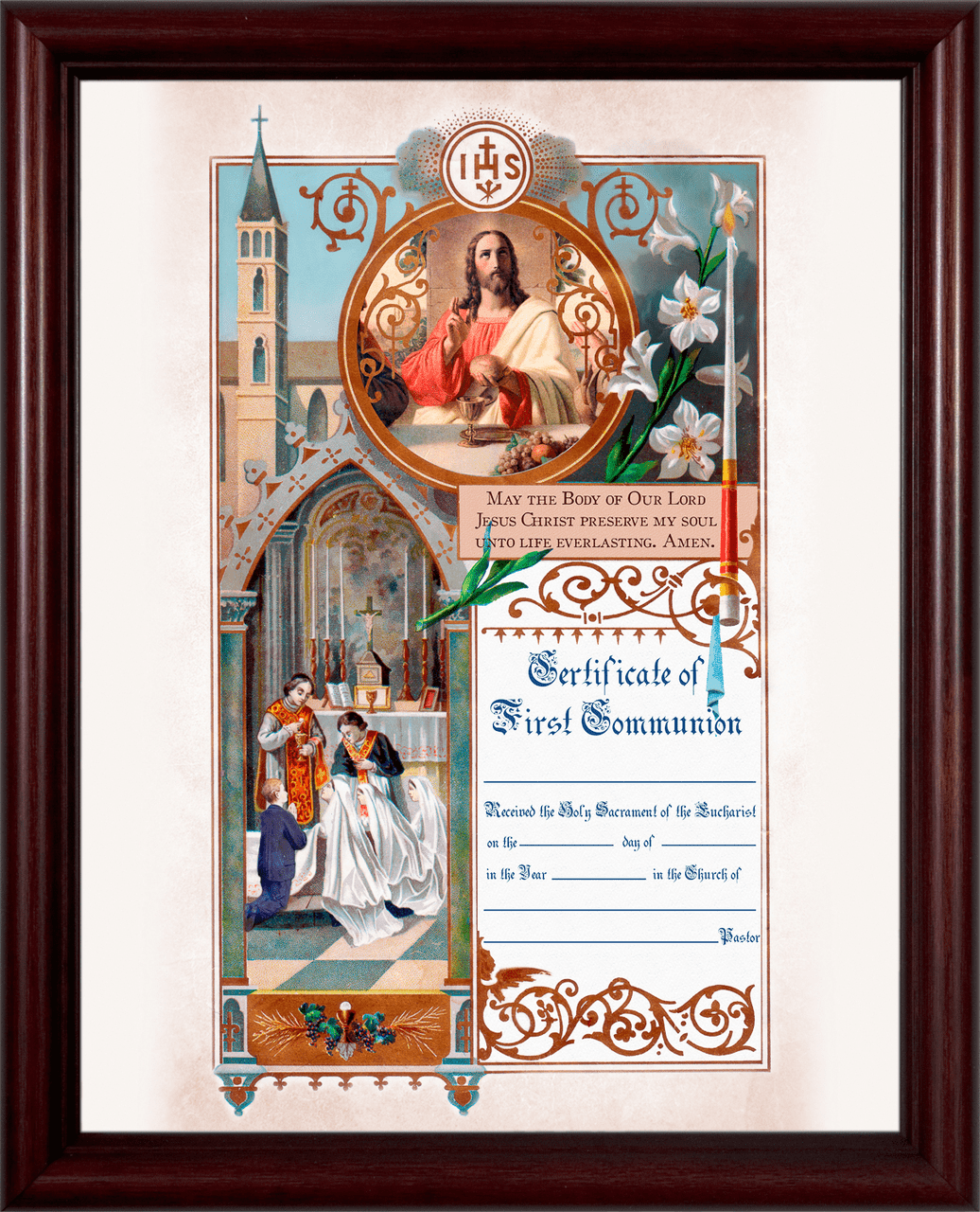 Traditional First Communion Sacrament Certificate with Priests in Cherry Wall Picture