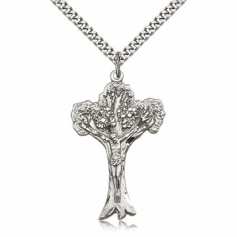 Tree of Life Sterling Silver Crucifix Pendant Necklace by Bliss