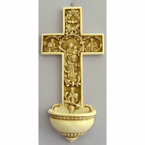 True Church Cross Alabaster 12in Holy Water Font