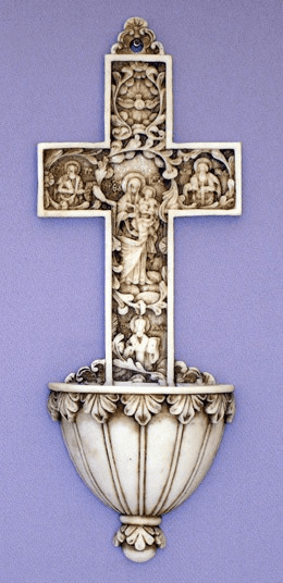 "True Church Cross Alabaster 9"" Holy Water Font"
